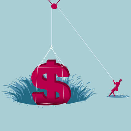 Businessman pulling dollar sign out of trap hole using a pulley
