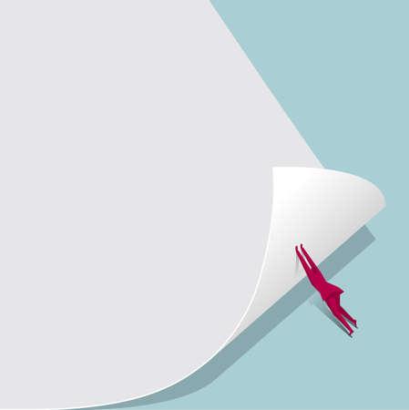 Businessman pushing the corner of a document  イラスト・ベクター素材