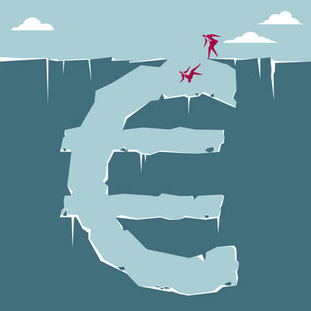 Concept of businessmen falling into financial trap with euro sign