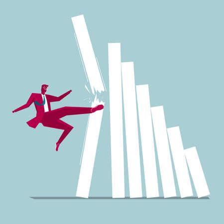 Businessman kicking statistics from bar chart