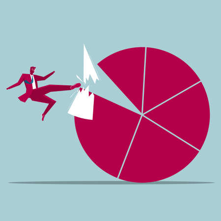 Businessman kicking statistics from chart