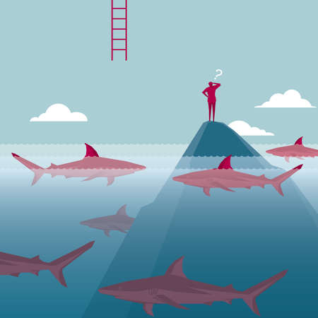 Businessman on a mountain besieged by the sharks