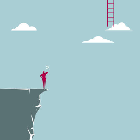 Businessman standing on the edge of the cliff figuring how to climb the ladder