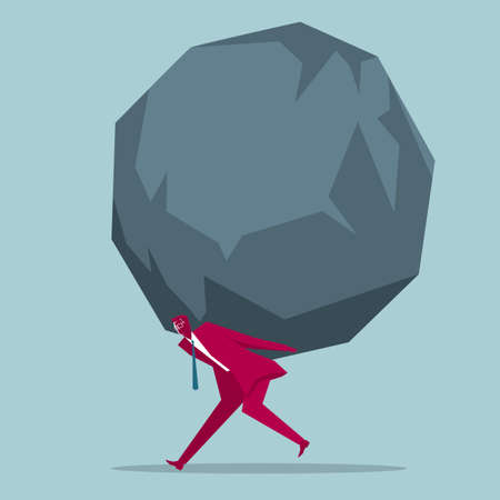 Businessman carrying a huge rock on his back Illustration