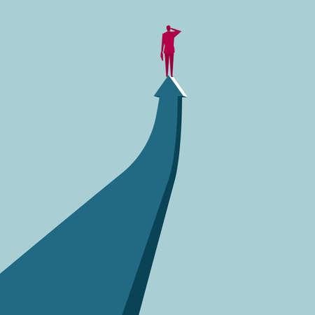 Businessman standing at the tip of the arrow Illusztráció