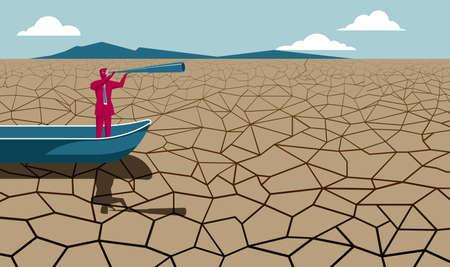Zakenman in boot die door telescoop op droog land kijkt