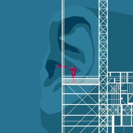 Businessman on construction platform looking into huge ears using telescope