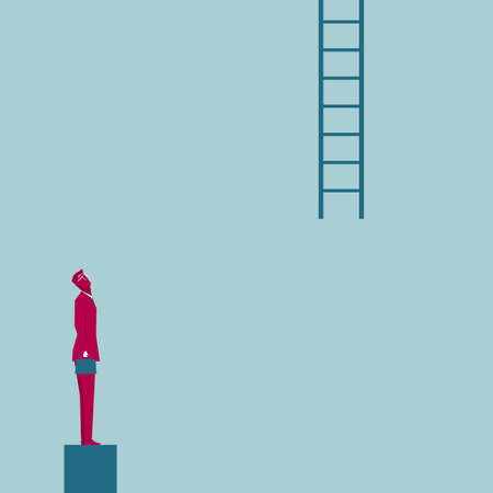 Businessman looks up at the ladder. Isolated on blue background.