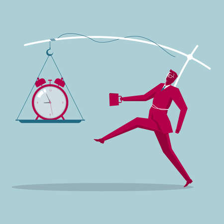 Punctuality concept of businessman with alarm clock on stick in front of him Ilustração