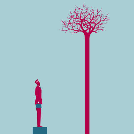 Businessman and tree. Isolated on blue background.  イラスト・ベクター素材