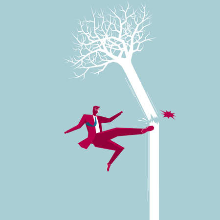 Businessman destroys the tree. Isolated on blue background.