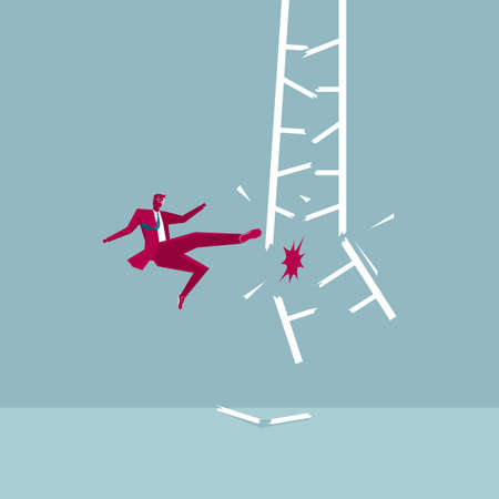 Businessman destroys the ladder. Isolated on blue background.