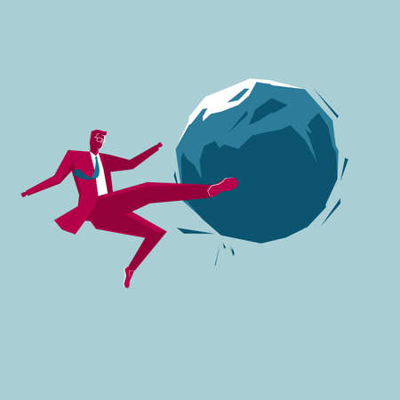 Businessman kicks the stone. Isolated on blue background.