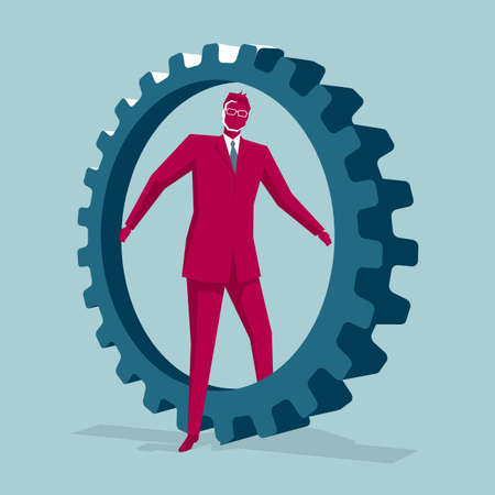 Businessman and gear isolated on blue background
