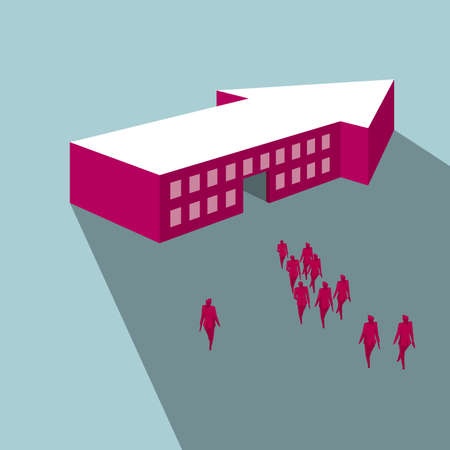 A group of people walking to an arrow-shaped building