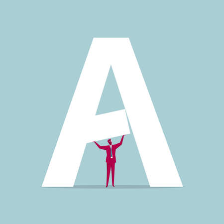Businessman with hand supporting alphabet A