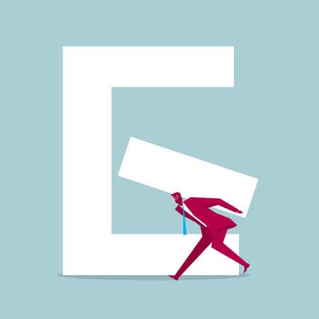 Businessman carrying part of alphabet E