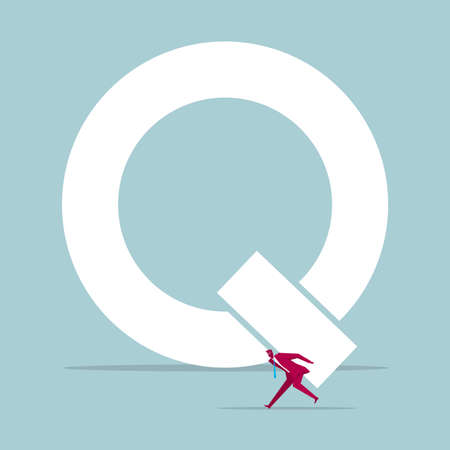 Businessman with carrying part of alphabet Q