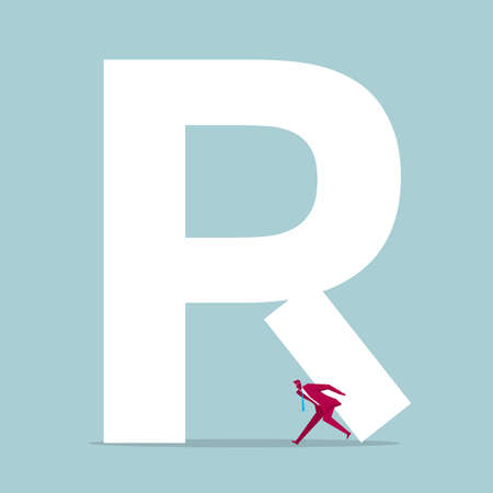 Businessman with carrying part of alphabet R Illustration