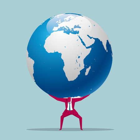 Businessman carrying a globe Illustration