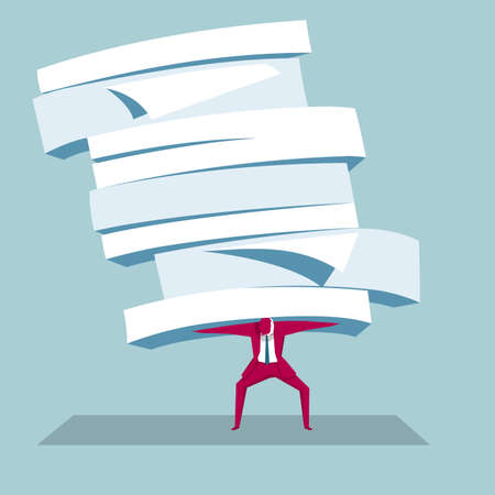 Businessman carrying a stack of documents Illustration