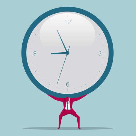 Businessman carrying a huge clock