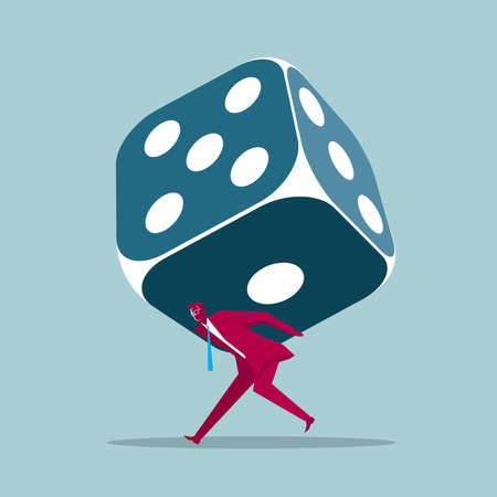 Businessman carrying a huge dice on his back