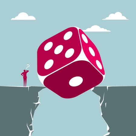 Businessman faced with obstacle of huge dice