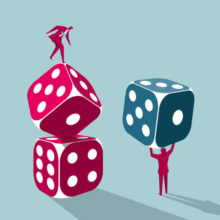 Businessmen carrying dice and balancing on dice  イラスト・ベクター素材