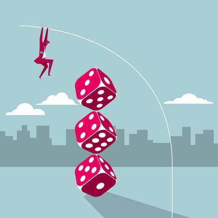 Businessman jumping over stacked dice with a pole