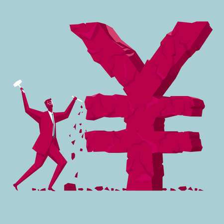 Businessman sculpting yuan symbol Illustration