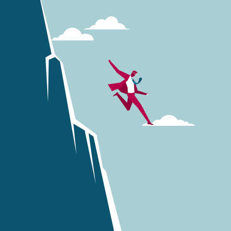 Businessman jumps off the cliff. Isolated on blue background.