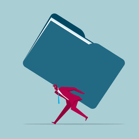 Businessman carrying folder. Isolated on blue background.