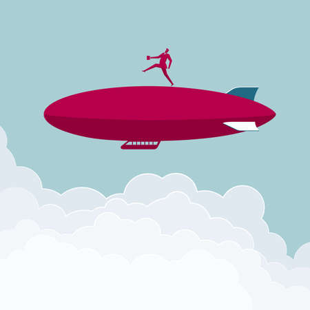 Businessman walking on the airship above clouds