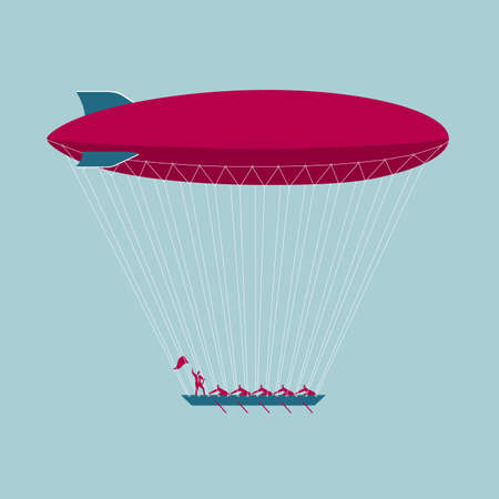 Businessmen rowing a boat with airship tied to it  イラスト・ベクター素材