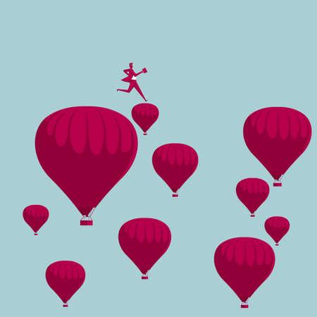 Businessman running midair on hot air balloons