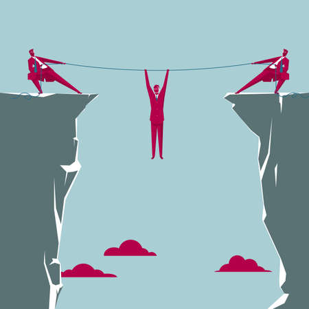 Business concept with businessmen tugging rope on cliff and worker hanging in the middle
