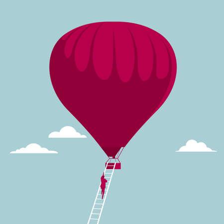 Businessman climbing up a ladder of hot air balloon
