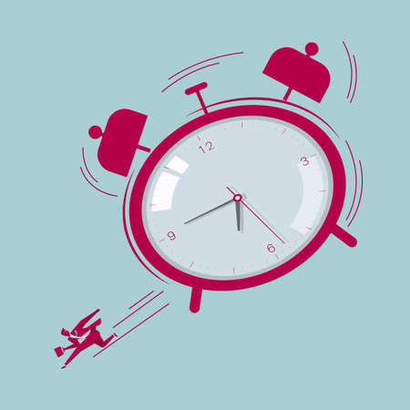 Punctuality concept with businessman rushing to work and alarm clock behind him