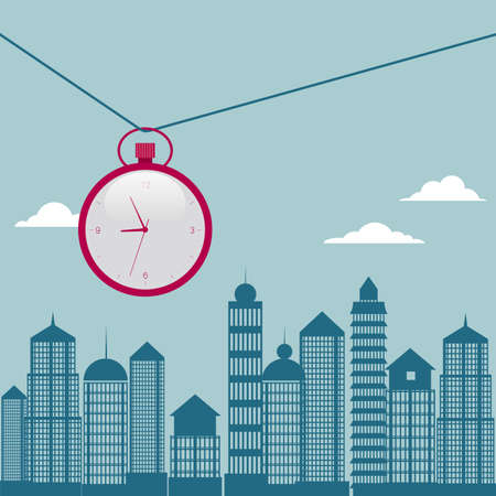 Pocket watch hanging over the city on a rope