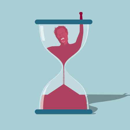 Time constraint concept with man struggling in hour glass