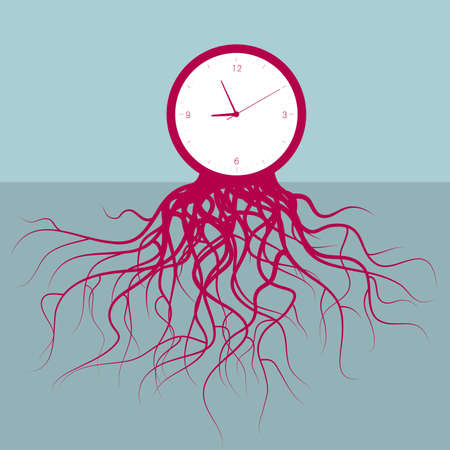 Time concept design with clock rooted on the ground