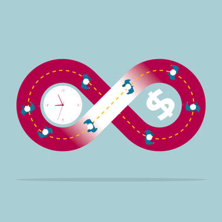 Businessmen stuck in giant infinity loop of time and money