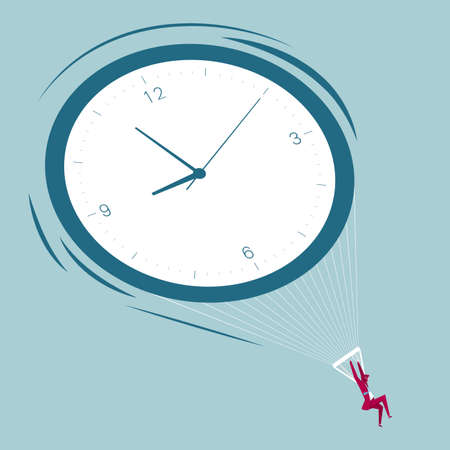 Clock parachute, businessman parachuting. Isolated on blue background.