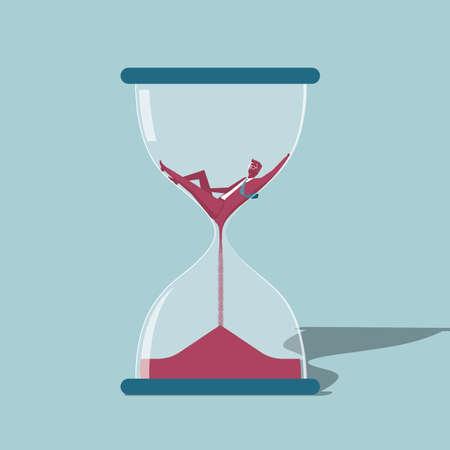 Diseño de concepto de tiempo. Aislado sobre fondo azul. Ilustración de vector