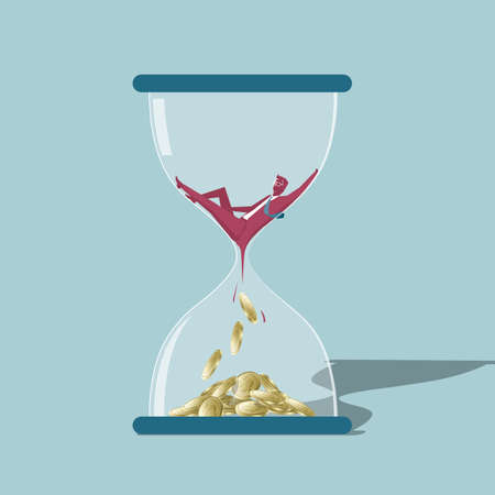 Time and wealth. Isolated on blue background. Illustration