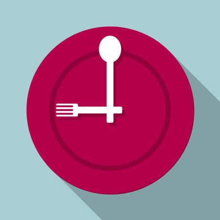 The meal time is up. Isolated on blue background.