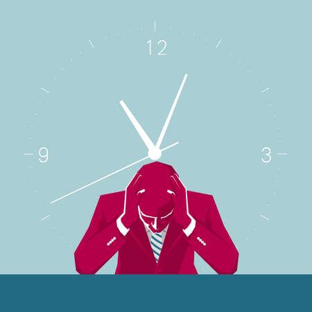 The businessman is thinking. Isolated on blue background.