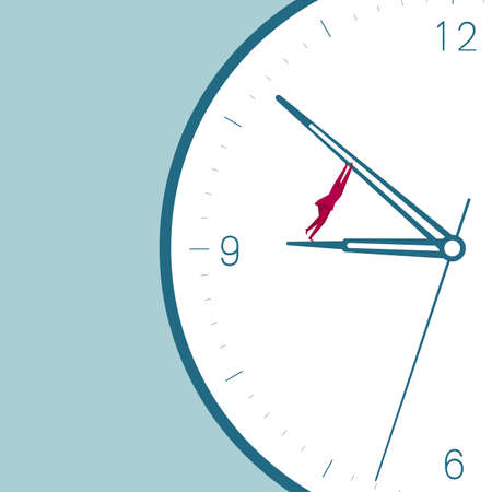 Businessman in the clock. Isolated on blue background. Illustration