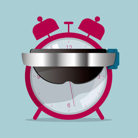 Alarm clock and smart glasses. Isolated on blue background.